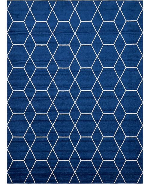 Bridgeport Home Plexity Plx1 Navy Blue 9' x 12' Area Rug