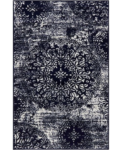 "Bridgeport Home Basha Bas7 Navy Blue 3' 3"" x 5' 3"" Area Rug"
