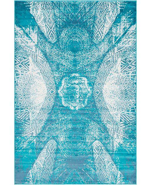 Bridgeport Home Basha Bas3 Turquoise 6' x 9' Area Rug