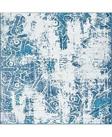 Bridgeport Home Basha Bas6 Blue 6' x 6' Square Area Rug