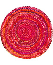 "Roari Cotton Braids Rcb1 Red 3' 3"" x 3' 3"" Round Area Rug"