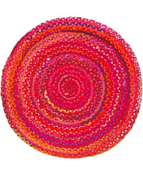 "Bridgeport Home Roari Cotton Braids Rcb1 Red 3' 3"" x 3' 3"" Round Area Rug"