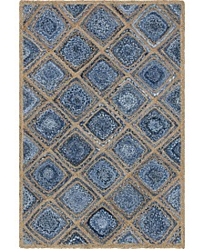 Bridgeport Home Braided Square Bsq6 Blue 4' x 6' Area Rug