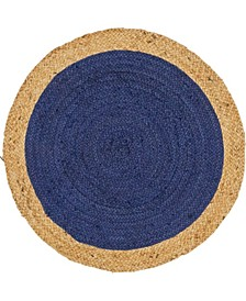 "Braided Jute A Bja4 Navy Blue 3' 3"" x 3' 3"" Round Area Rug"