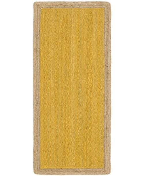 "Bridgeport Home Braided Jute A Bja4 Yellow 2' 6"" x 6' Runner Area Rug"