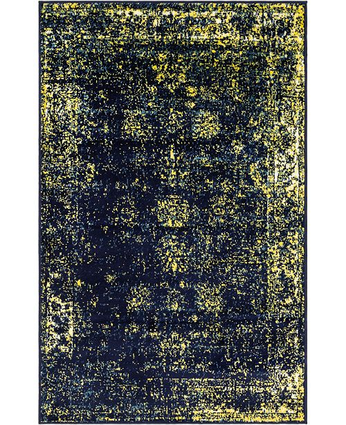 "Bridgeport Home Basha Bas1 Navy Blue 3' 3"" x 5' 3"" Area Rug"