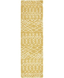 "Bridgeport Home Fazil Shag Faz2 Yellow 2' 7"" x 10' Runner Area Rug"