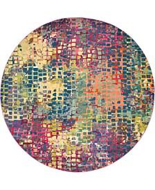 Crisanta Crs4 Multi/Blue 8' x 8' Round Area Rug