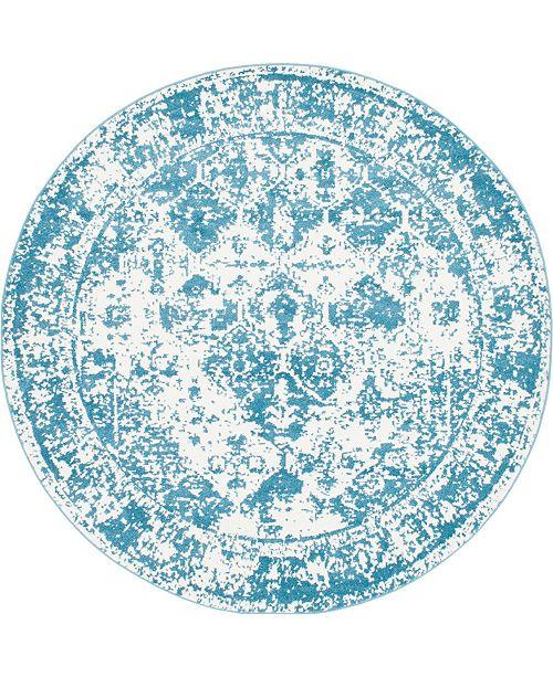Bridgeport Home Mishti Mis2 Blue 8' x 8' Round Area Rug