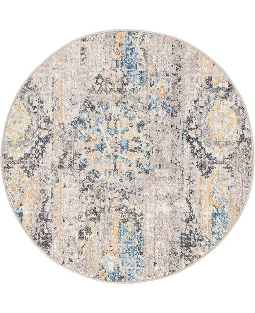 "Bridgeport Home Nira Nir1 Light Brown 3' 3"" x 3' 3"" Round Area Rug"