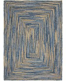 Bridgeport Home Roari Braided Chindi Rbc1 Blue/Natural 9' x 12' Area Rug