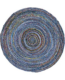 Roari Braided Chindi Rbc1 Blue/Multi 8' x 8' Round Area Rug