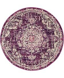 "Lorem Lor1 Purple 3' 3"" x 3' 3"" Round Area Rug"