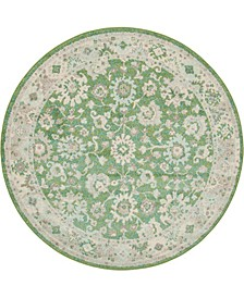 Lorem Lor3 Green 6' x 6' Round Area Rug