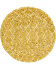Bridgeport Home Fazil Shag Faz2 Yellow 5' x 5' Round Area Rug