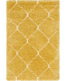 Bridgeport Home Fazil Shag Faz5 Yellow 4' x 6' Area Rug