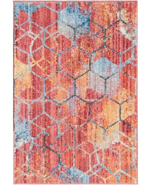 "Bridgeport Home Prizem Shag Prz1 Red 2' 2"" x 3' Area Rug"