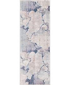Prizem Shag Prz4 Blue Gray 2' x 6' Runner Area Rug