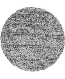 """Lochcort Shag Loc3 Gray 3' 3"""" x 3' 3"""" Round Area Rug"""