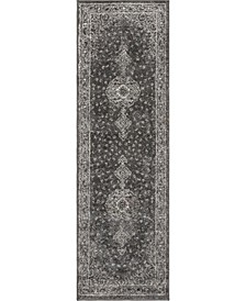 "Mobley Mob1 Dark Gray 2' x 6' 7"" Runner Area Rug"