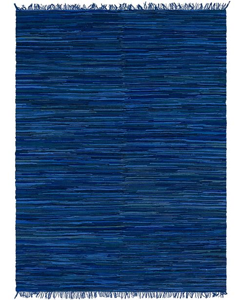 Bridgeport Home Jari Striped Jar1 Navy Blue 9' x 12' Area Rug