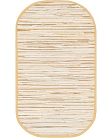 "Bridgeport Home Jari Striped Jar1 Tan 3' 3"" x 5' Oval Area Rug"