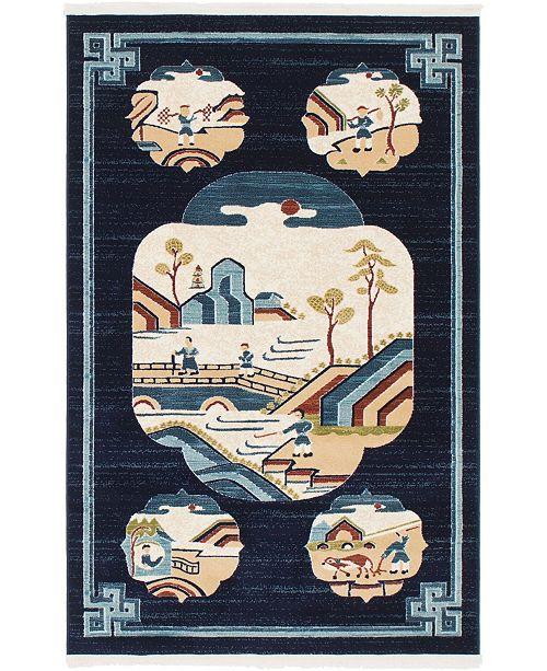 Bridgeport Home Sahil Sah3 Navy Blue 4' x 6' Area Rug
