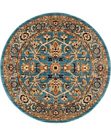 """Bridgeport Home Thule Thu1 Turquoise 4' 5"""" x 4' 5"""" Round Area Rug"""