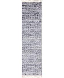 """Levia Lev1 Dark Gray 3' 6"""" x 13' Runner Area Rug"""