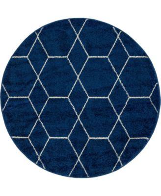 Plexity Plx1 Navy Blue 4' x 4' Round Area Rug