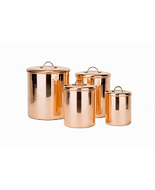 Old Dutch International Polished Copper Canister Set with Brass Knobs, 4 Piece Set