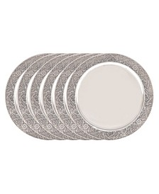"International 13"" Stainless Steel Etched Rim Charger Plate, Set of 6"