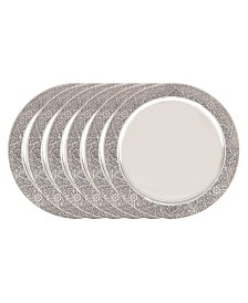 "Old Dutch International 13"" Stainless Steel Etched Rim Charger Plate, Set of 6"
