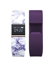 iFitness Activity Tracker with Purple Mable Printed Strap and Bonus Purple Strap