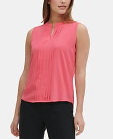 Calvin Klein Sleeveless Split-Neck Pleated Blouse