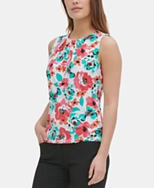 Calvin Klein Floral Pleat-Neck Top