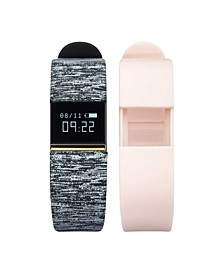 iFitness Activity Tracker with Black and White Print Strap and Bonus Blush Strap