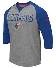Colosseum Men's Kansas Jayhawks Team Patch Three-Quarter Sleeve Raglan T-Shirt