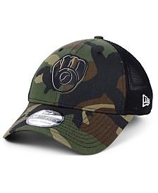 New Era Milwaukee Brewers Camo Trucker 39THIRTY Cap
