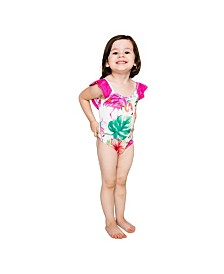 Masala Baby Girls Flutter One Piece Flamingo Island