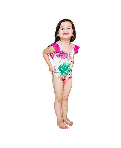 Masala Baby Girls Flutter One Piece Flamingo Island