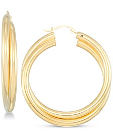Diamond Accent Double Hoop Earrings in 14k Gold Over Resin, Created for Macy's