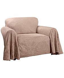 Plush Damask Throw Chair Slipcover