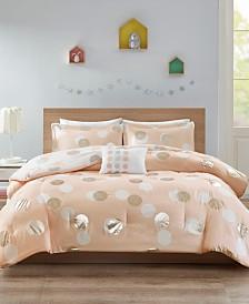 Mi Zone Emelia Twin/Twin XL 3 Piece Metallic Dot Print Reversible Comforter Set