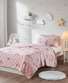 Alicia Rainbow with Metallic Printed Stars Reversible Coverlet Sets