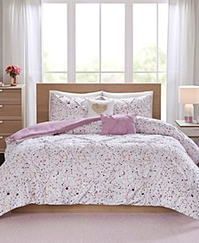 Abby Twin/Twin XL 4-Pc. Metallic Printed and Pintucked Comforter