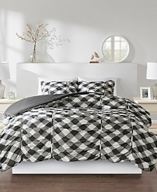 Intelligent Design Kelsie Twin/Twin XL 2 Piece Ruched Gingham Print Duvet Cover Set