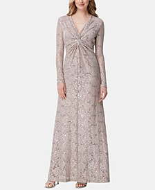 Long-Sleeve Lace Column Gown