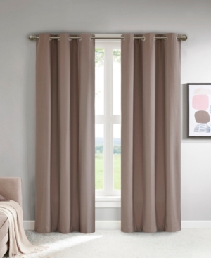 """Image of 37""""x63"""" Zara Solid Theater Grade Blackout Curtain Pair Taupe (Brown)"""
