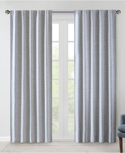 "510 Design Ebon 38"" x 95"" Woven Heathered Total Blackout Curtain Panel Pair"
